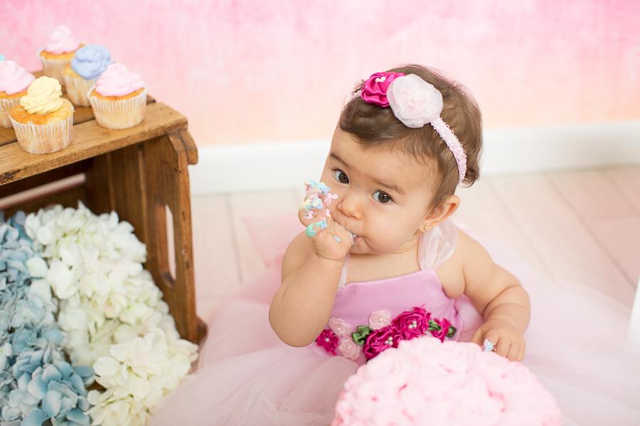 ensaio de bebe com bolo