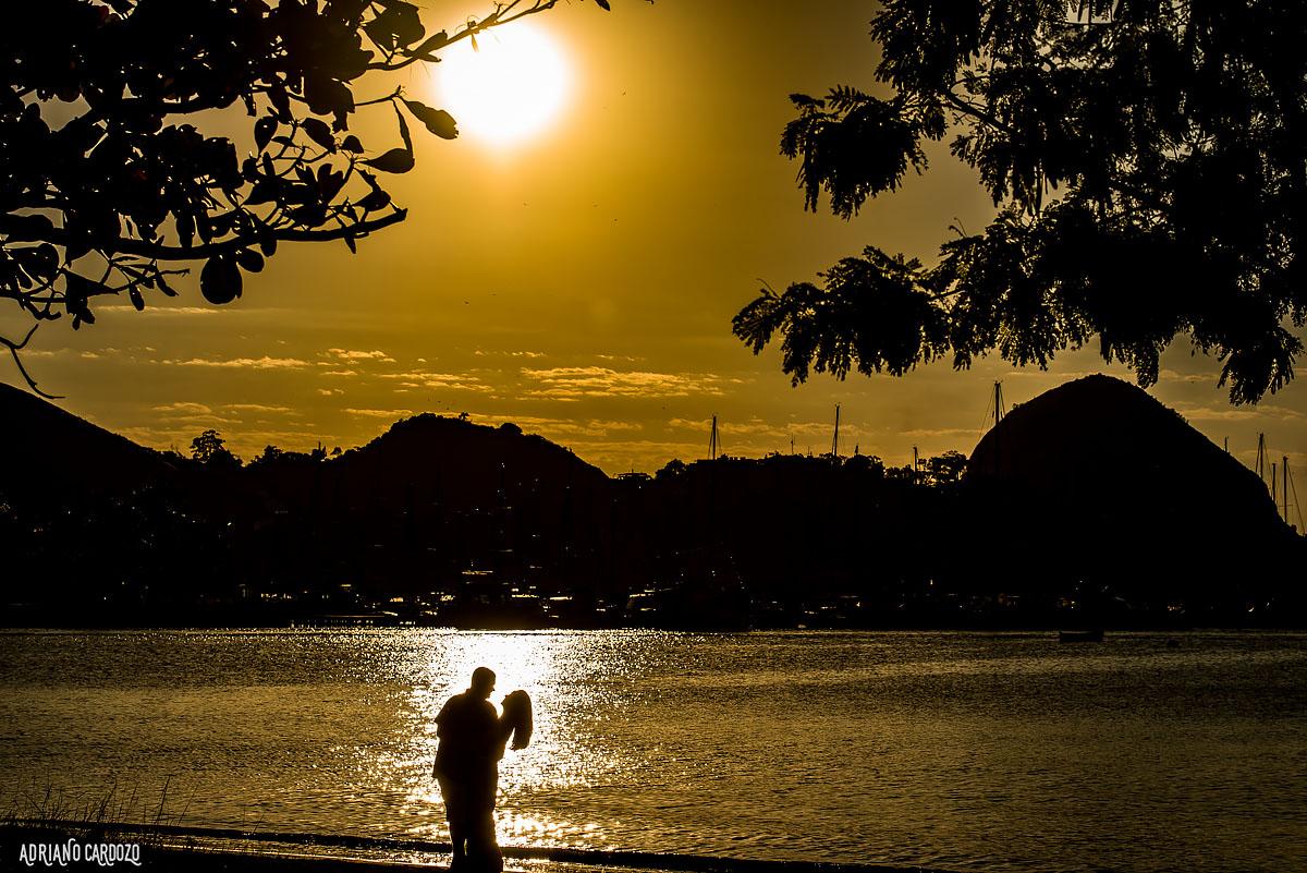 Sessão fotográfica ao por do sol