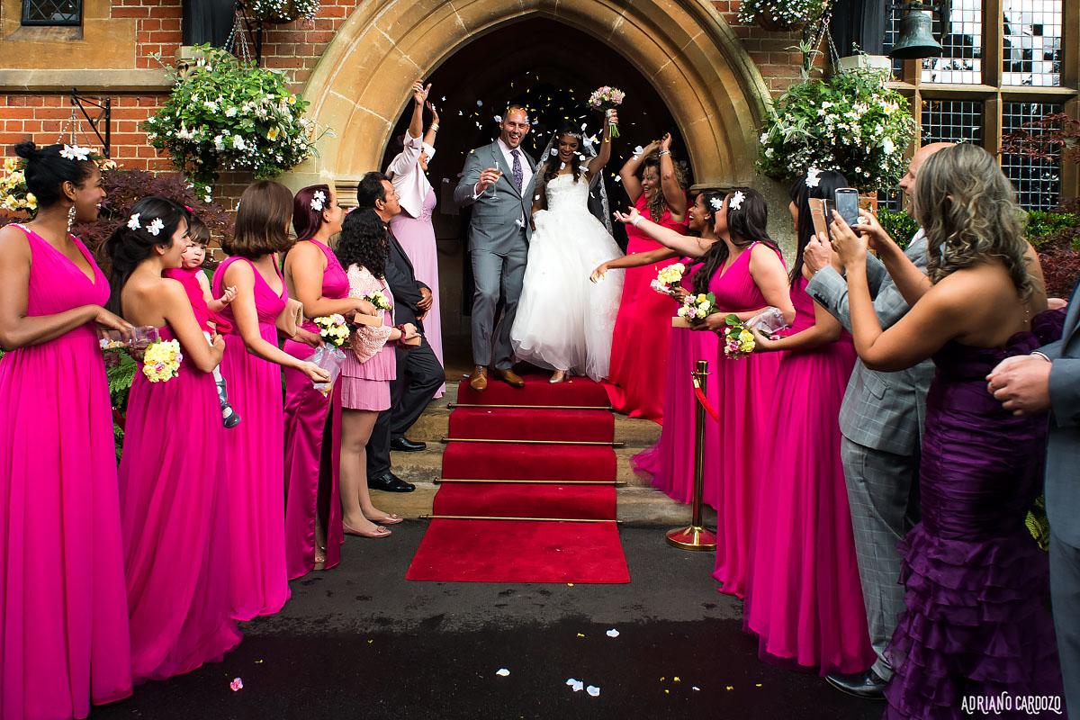 Padrinhos e os noivos em Londres