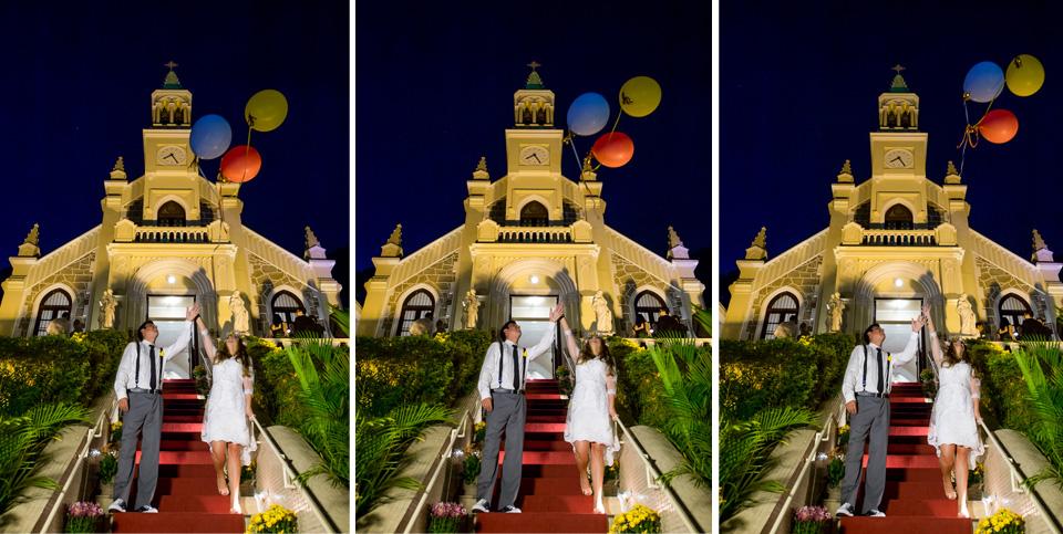Fotografia de Casamento RJ. Casamento na Capela Nossa Senhora das Graças em Botafogo com balão voando por Adriano Cardozo.