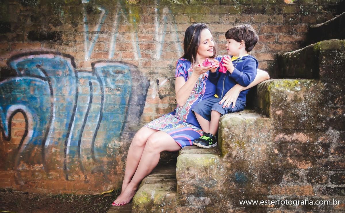 Fotografia de gravida com irmão Campinas