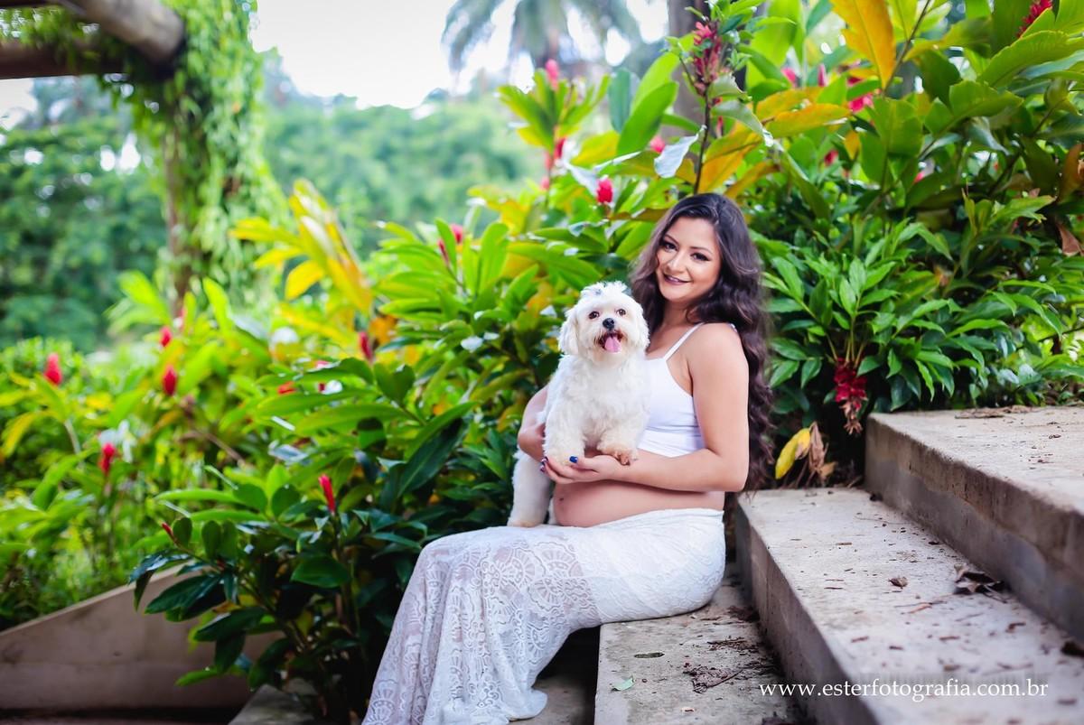 Foto de gravida com cachorro