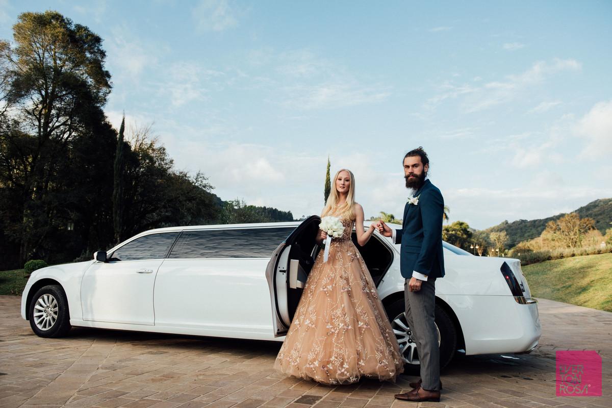 ensaio casal limosine noiva vestido mude