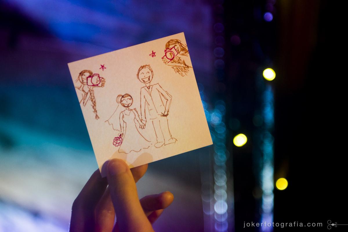 caricatura dos noivos nos recadinhos feita pelos fotógrafos mais legais