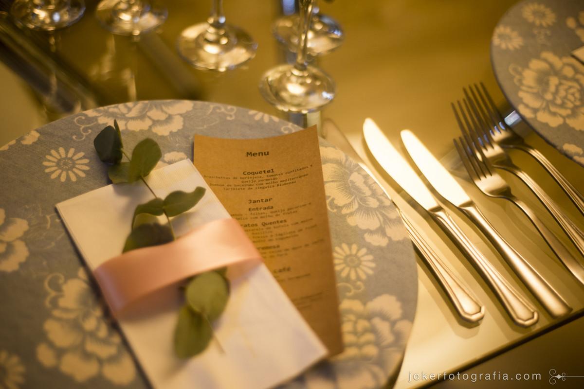menu para o jantar e almoço de casamento