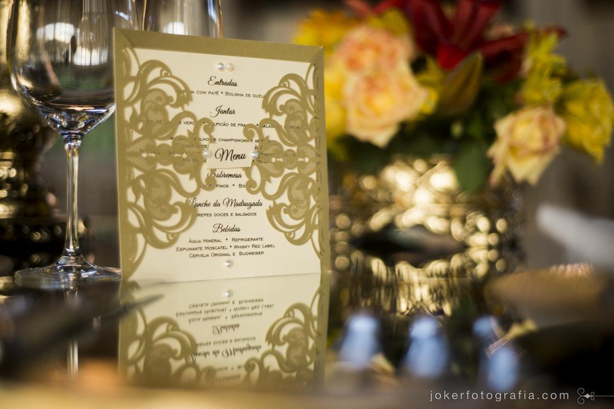 menu personalizado para o seu casamento e papelaria