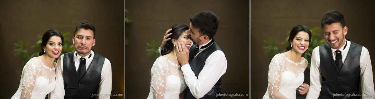 casal divertido fotografia de casamento com caretas