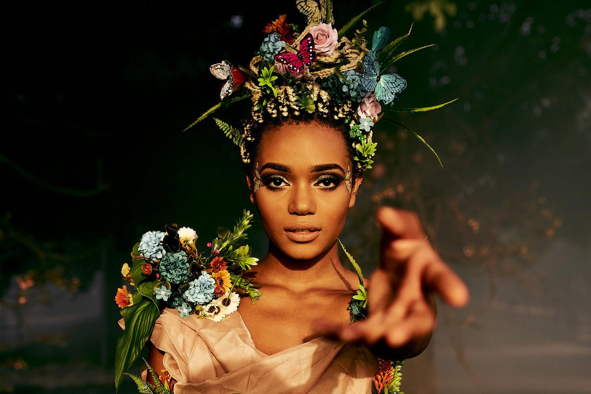 deusa conceitual ninfa floresta fotos femininas negra beleza rainha princesa fotografia ale queiroz