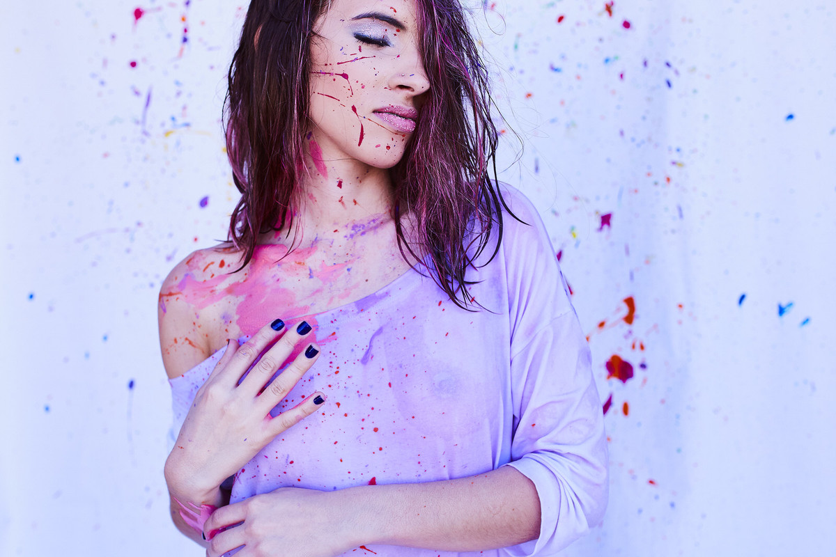 arte, fotografia com tinta, tinta, foto com agua, aquarela, mulher pintada, mulher com tinta, pintura no corpo, pintura corporal, watercolor photo, watercolor