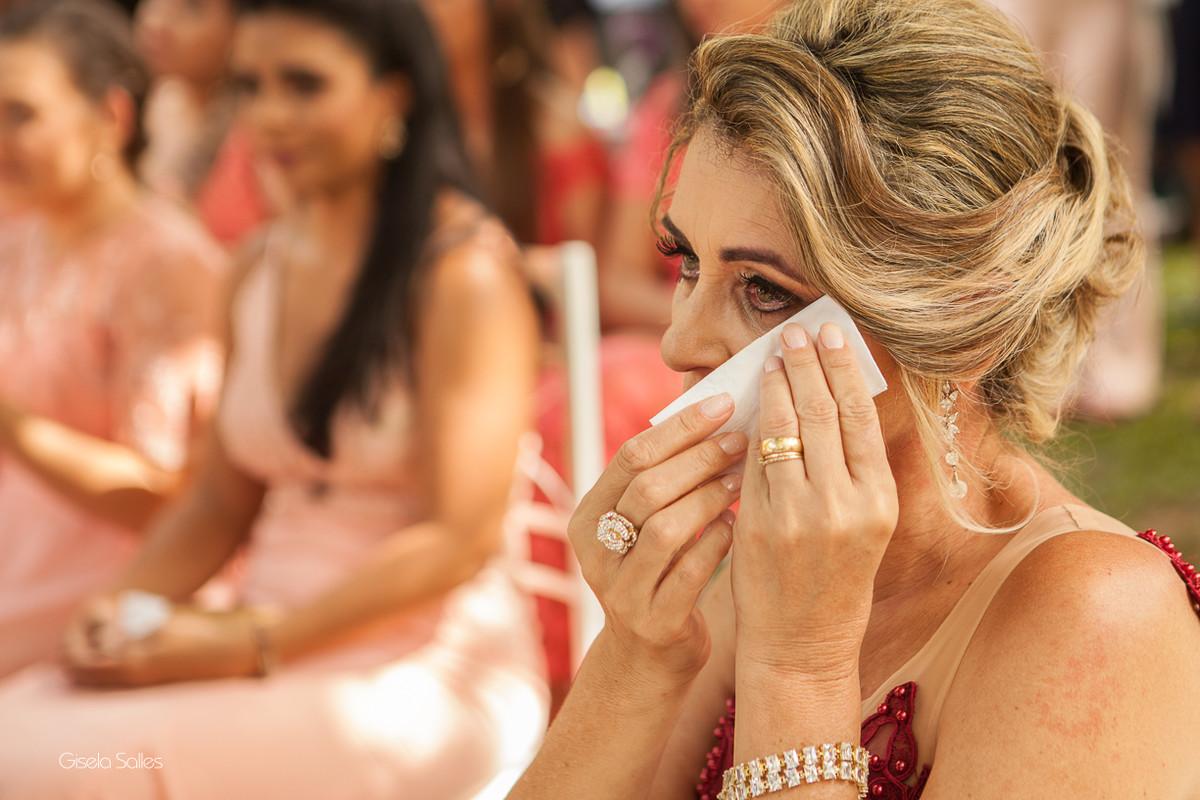 cerimônia, mãe chorando emocionada. fotografia com emoção, Gisela Salles