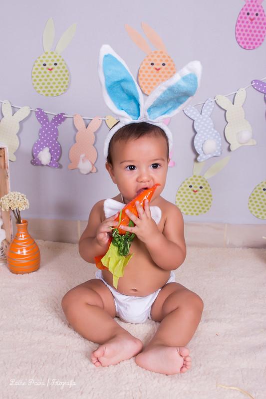 Fotografia infantil, com bebe de 7 meses. Tema pascoa, cenario com bandeirola em formato de coelho na parede, caixote deitado com pelucia e coelhinho de brinquedo dentro, cesto com ovos feitos de gesso, cesto com cenoras de papel e pegadas de coelhos pelo