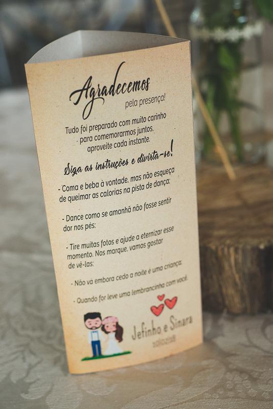 Detalhe do cardapio dos noivos. Foto por Marco Moscarelli Fotógrafo