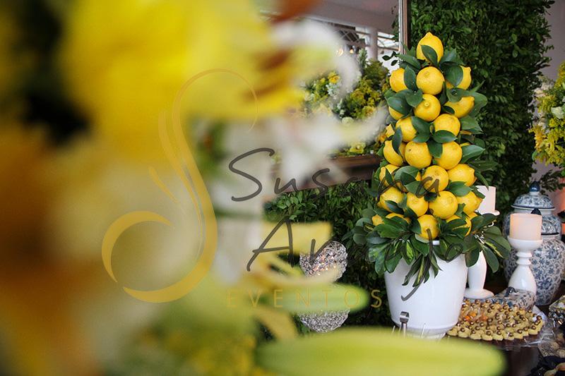 Casamento Casa Fróes Niterói Decoração floral flores amarelas arranjo limao siciliano amarelo