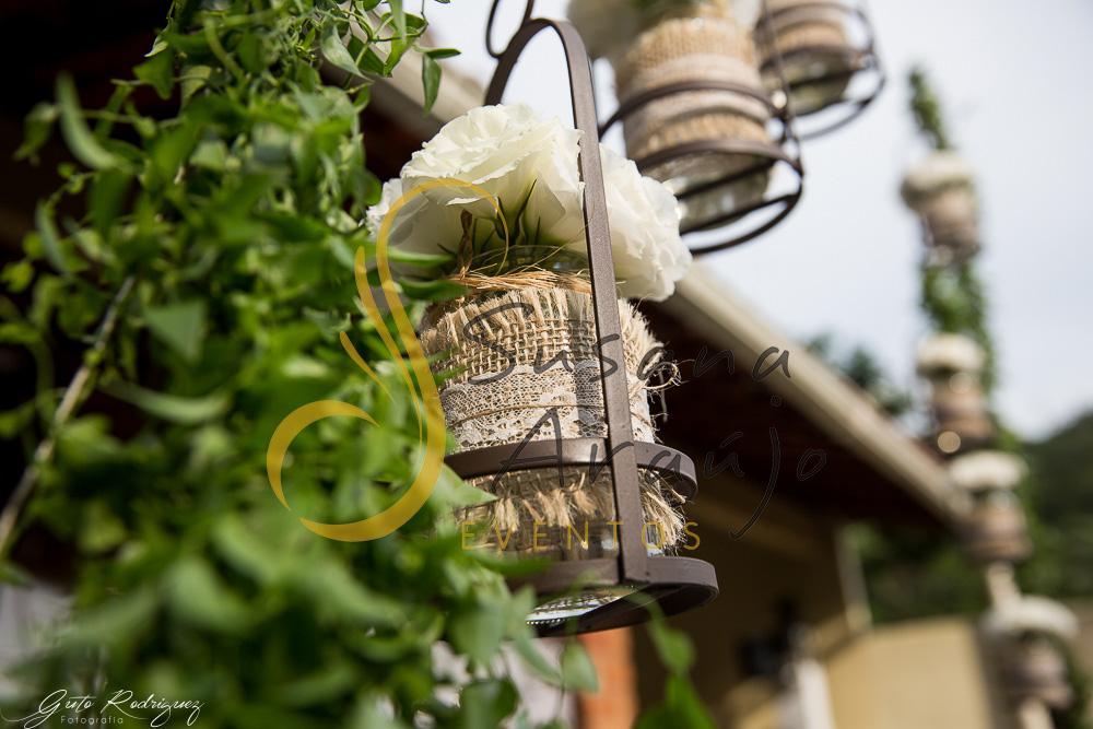 Suporte ferro cerimonia ferro vidros DIY renda bouquet flor branca