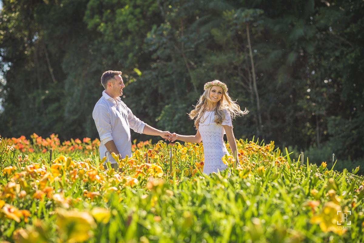 sessão de fotos pré casamento flores de joinville