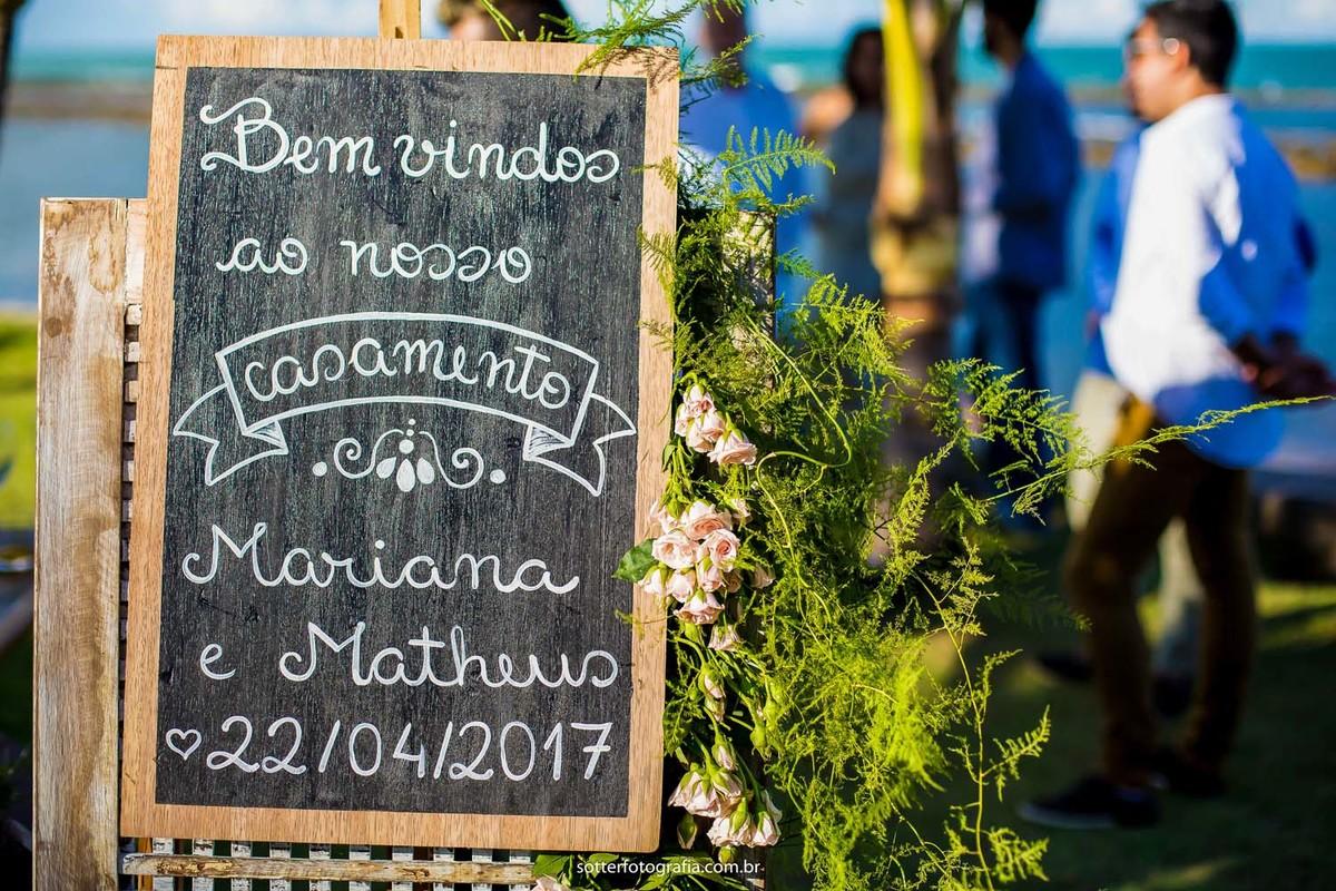 Placa para recepção do casamento