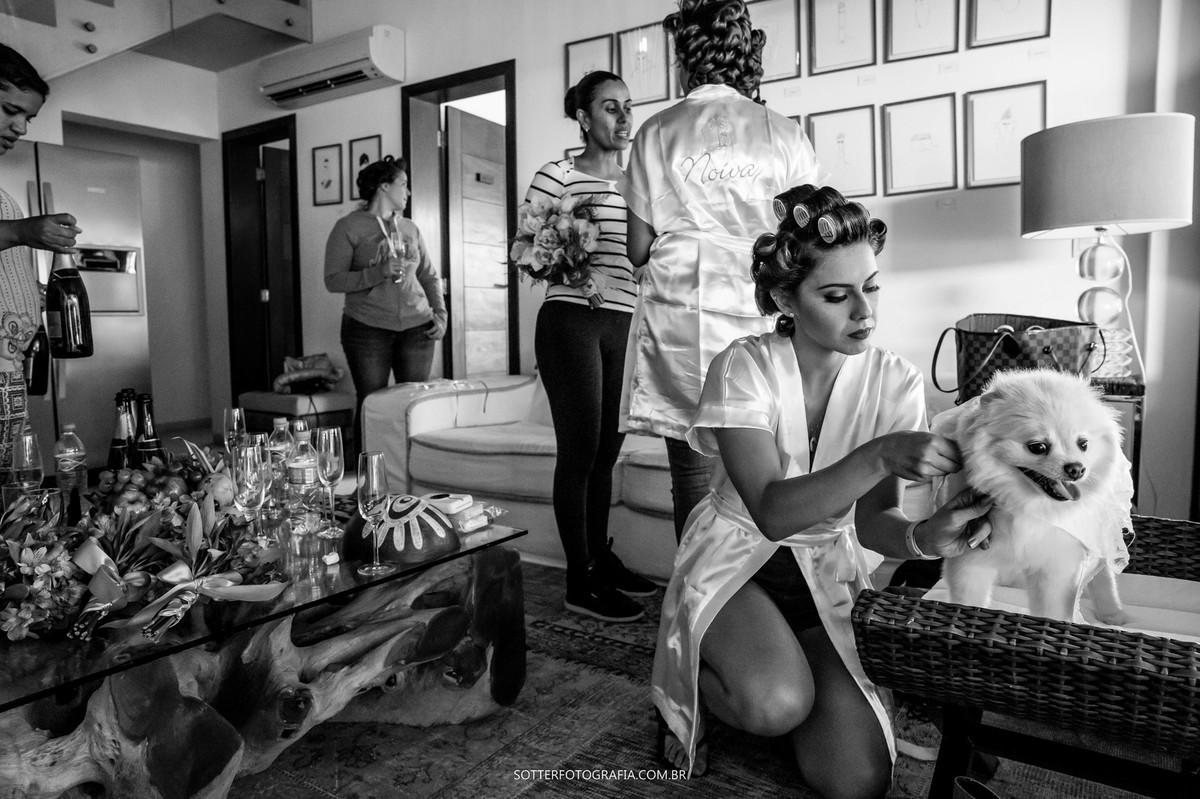 arrumando a cachorrinha da noiva, sotter fotografia, casamento