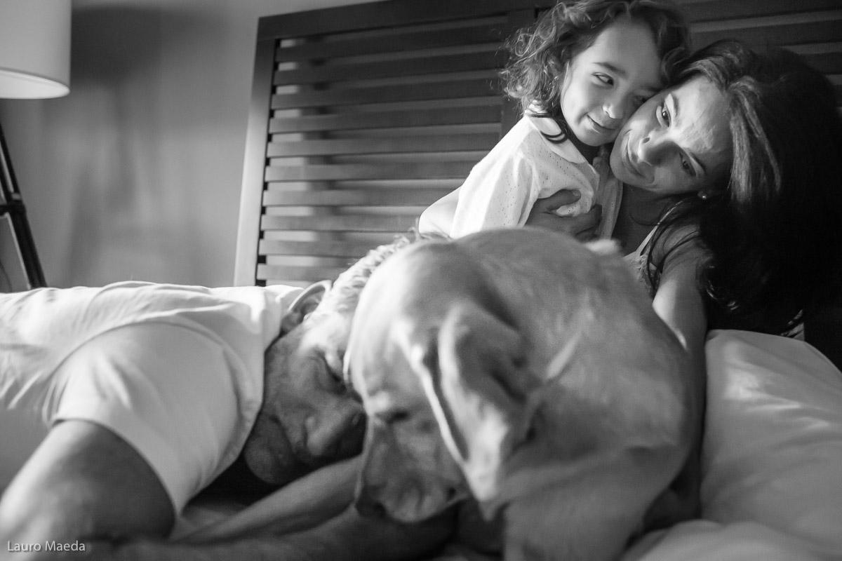 Manhã na cama com a família Laub