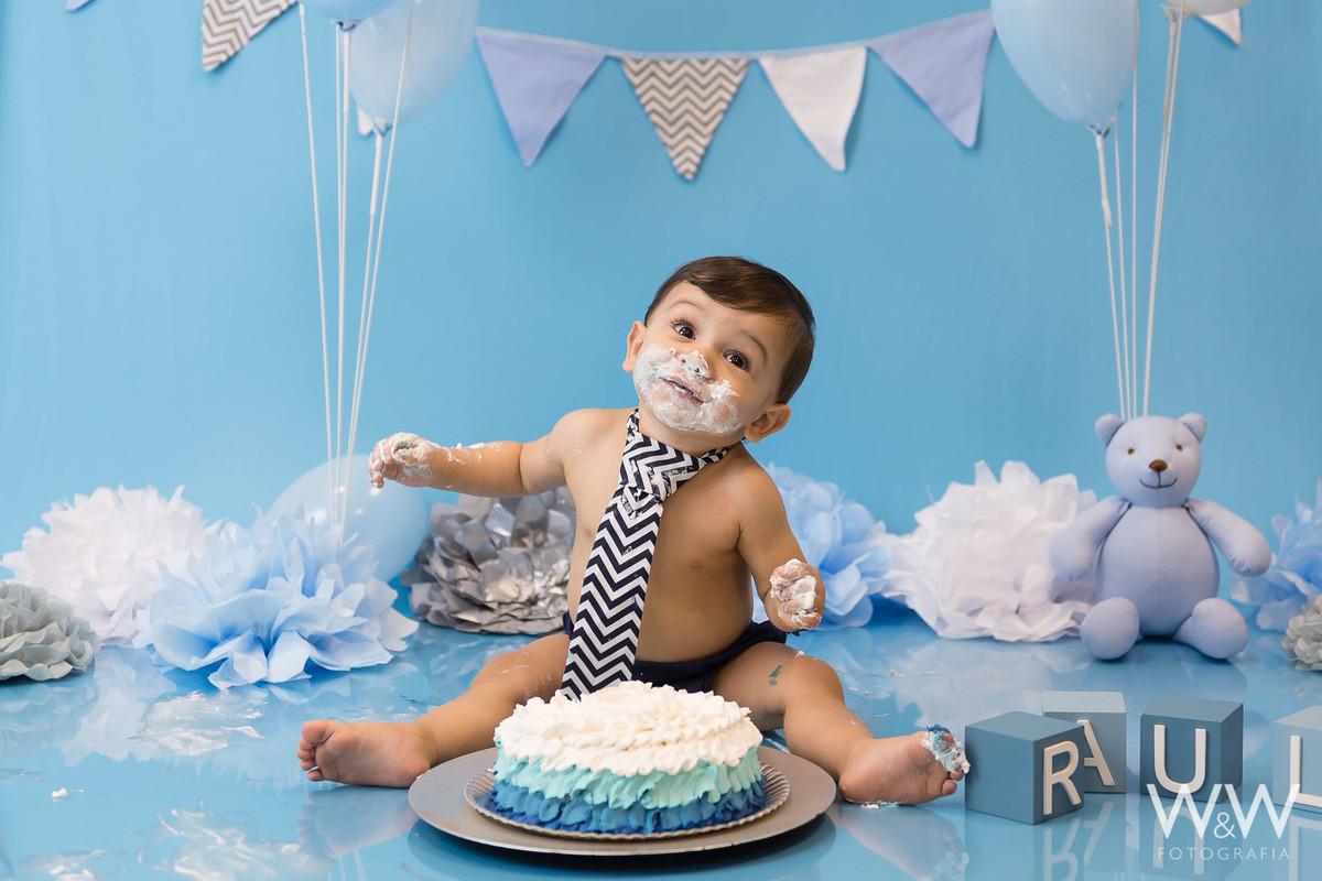 ensaio cake smash wewfotografia estúdio são paulo azul