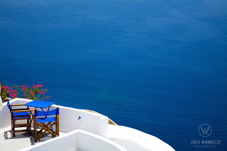 blue sea at santorini greece