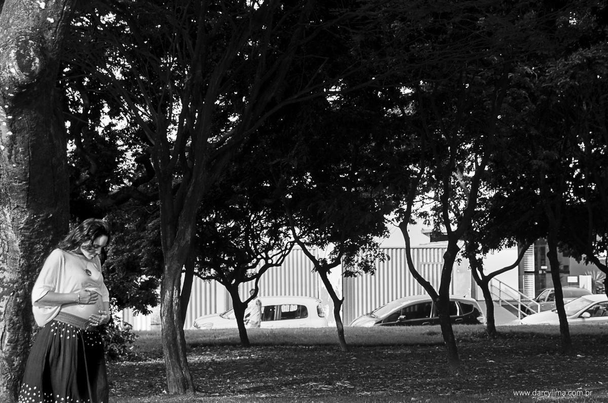 retrato minimalista de gravida junto as grandes arvores da praça da independencia