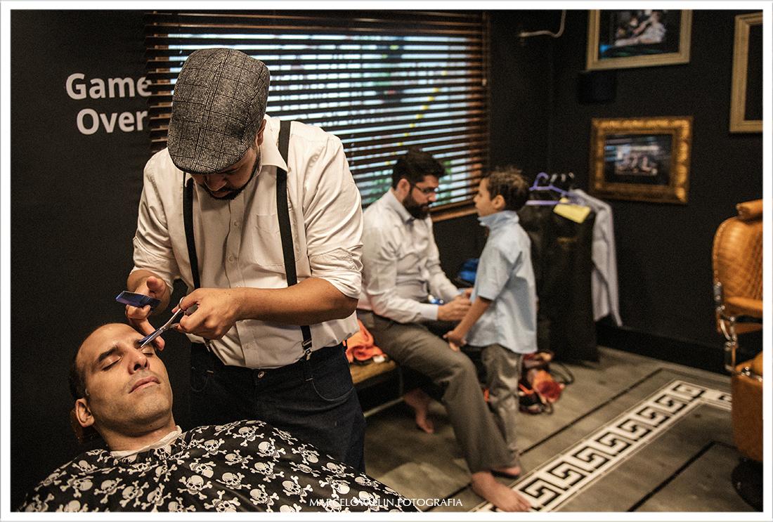 Fotografia do Making of noivo Barbearia do Zé