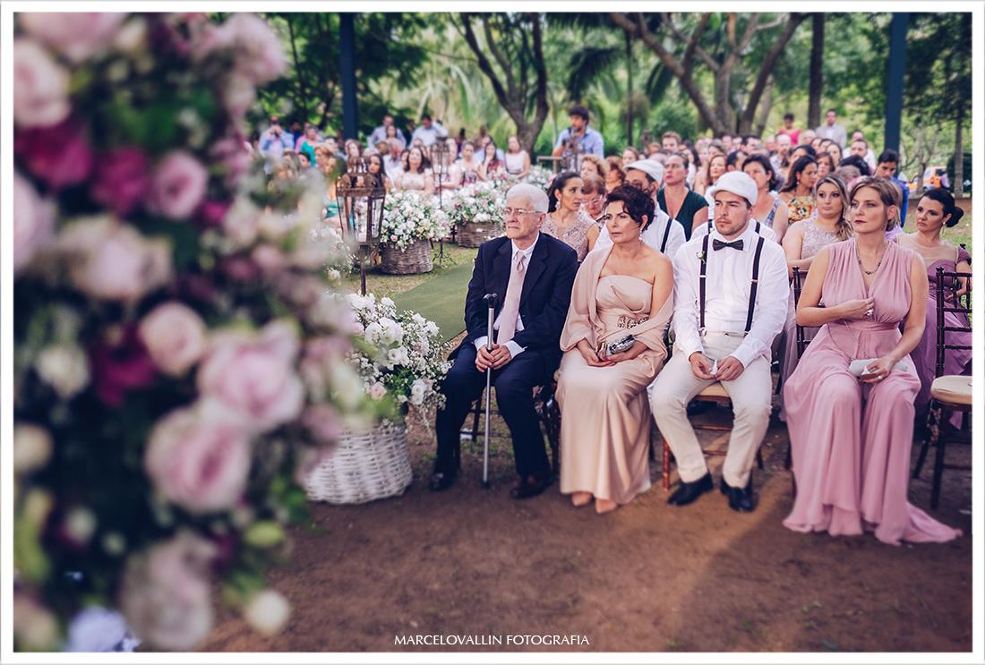 Foto dos convidados de casamento no campo