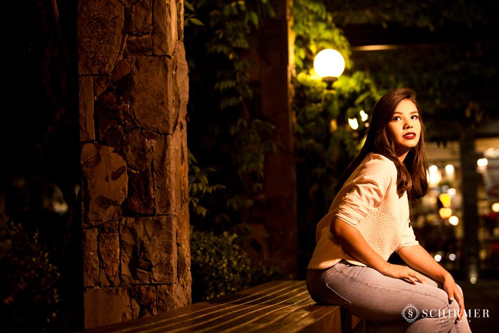 Ensaio feminino ao ar livre canela gramado book 15 anos noite cidade