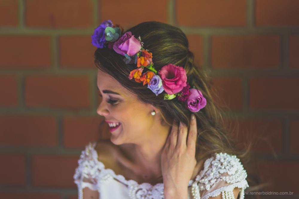 coroa de flores da noiva