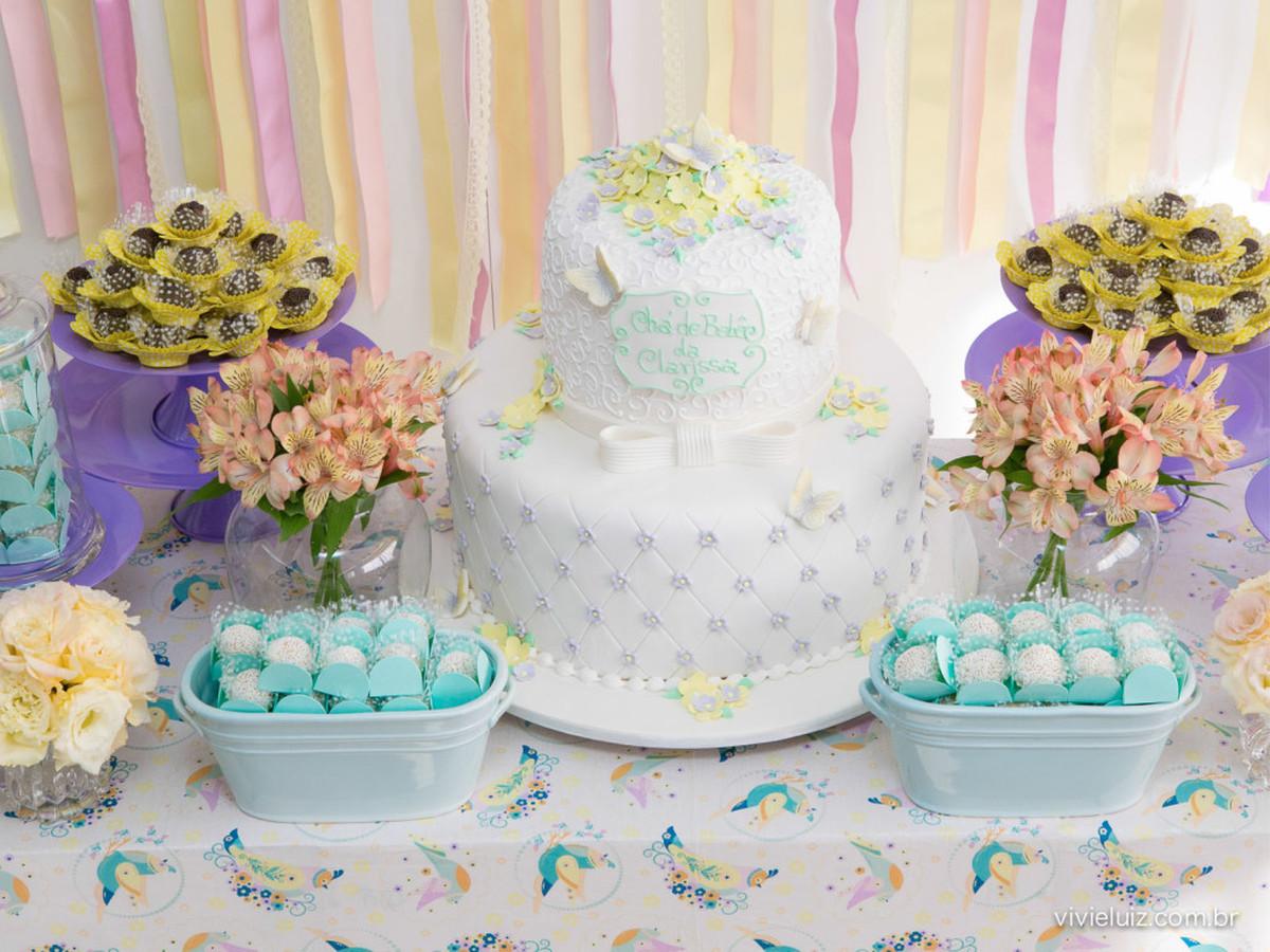 decoração mesa chá de bebe