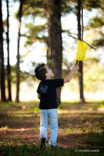 Criança brincando de bandeira