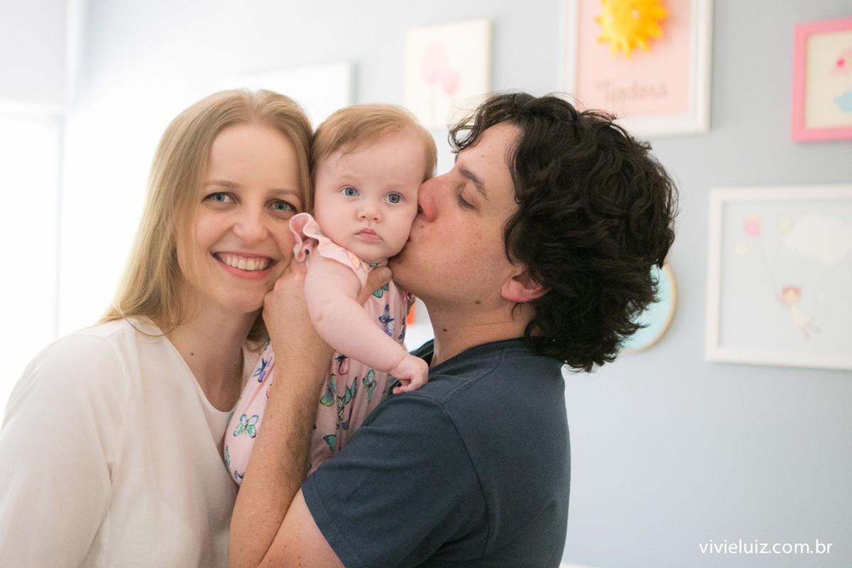 Papai beijando filha de mamãe
