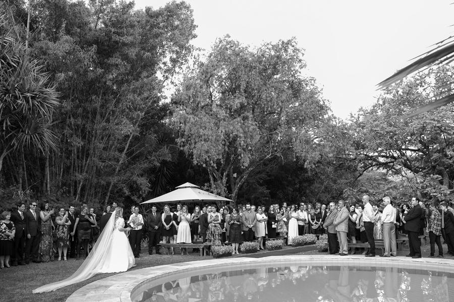 A chegada da noiva no local da cerimônia