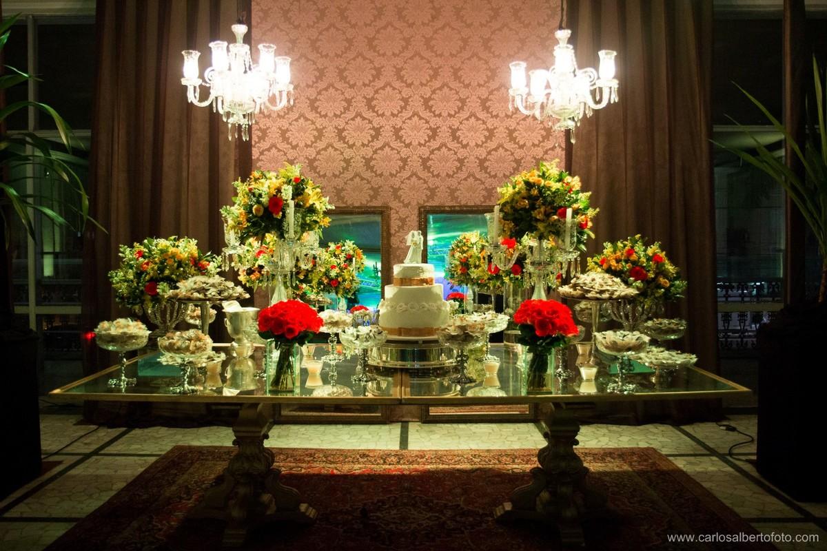 decoração da mesa de casamento