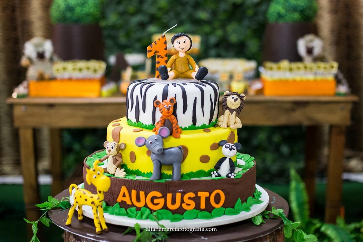 bolo para festa infantil tema selva