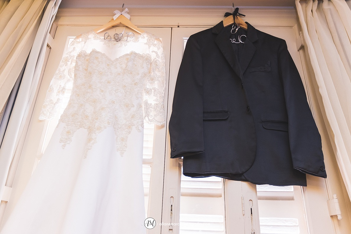 vestido de noiva e terno de noivo