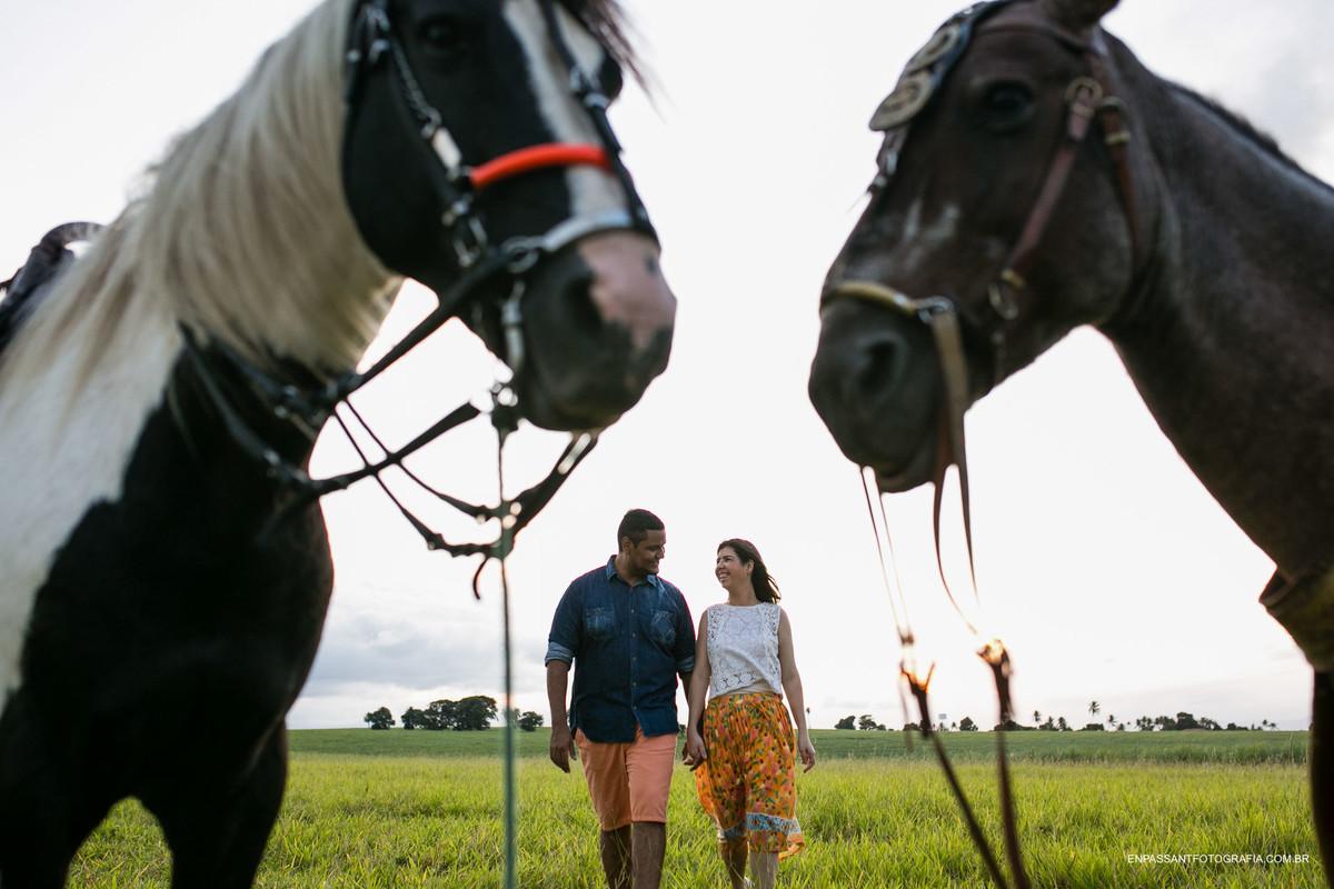 casal andando entre cavalos