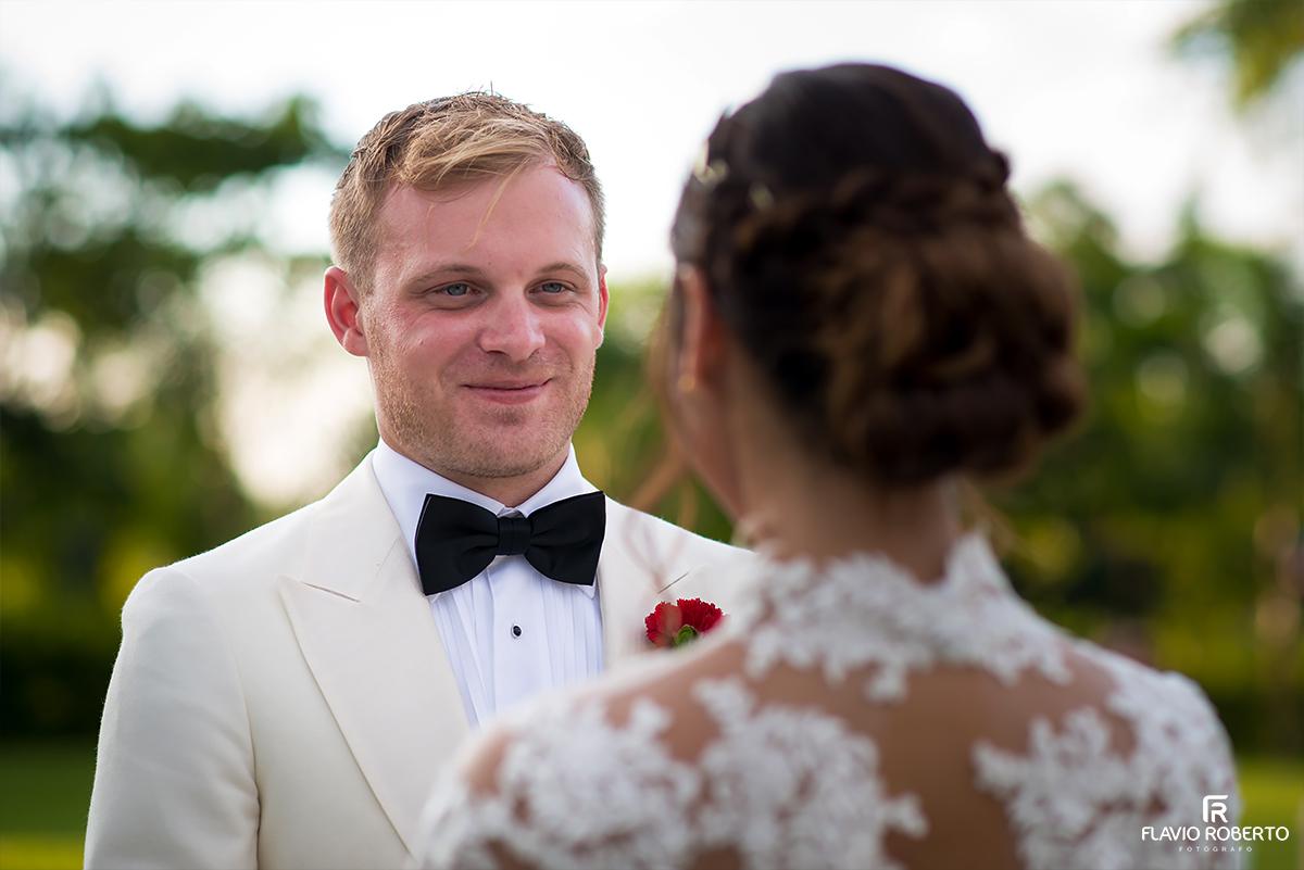 noivos fazendo votos casamento campestre