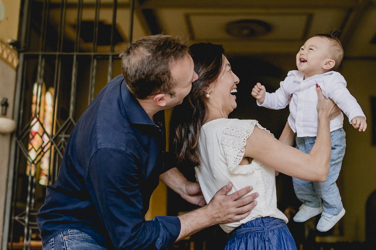 retrato em familia no final do batizado do Pedro