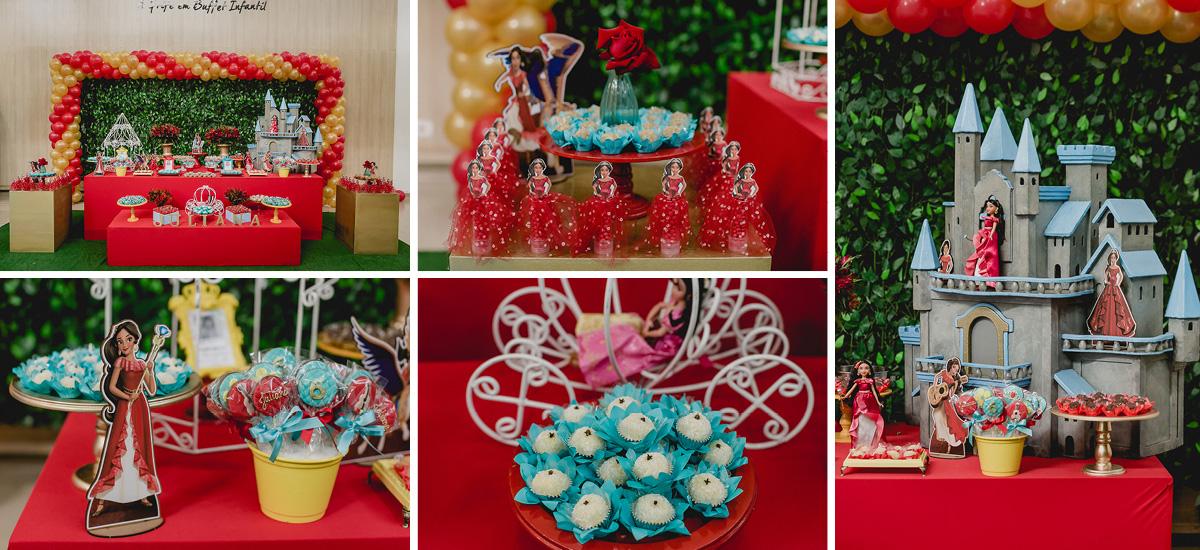 detalhes da mesa do bolo com o tema helena