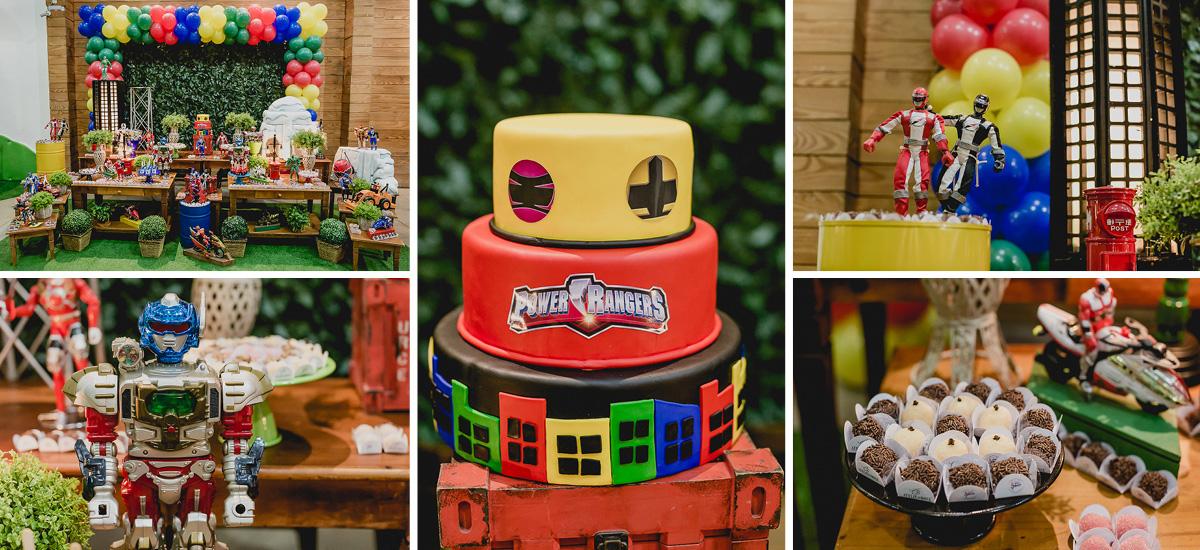 detalhes da mesa do bolo no buffet espaço puzzle com o tema power rangers