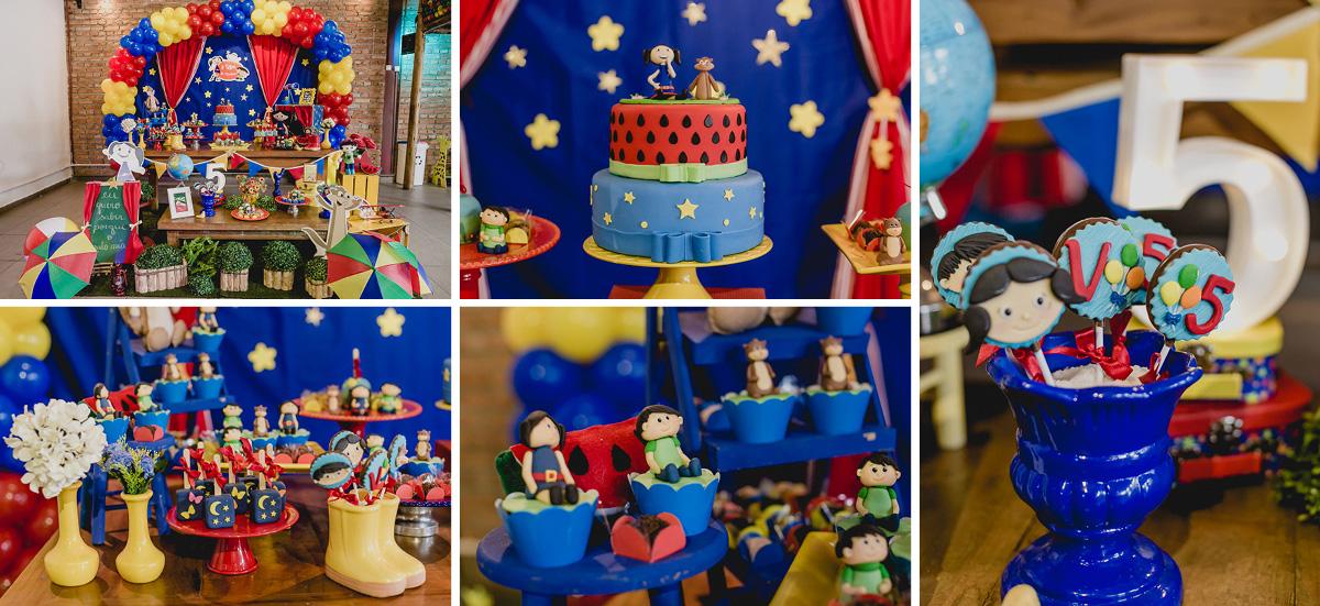 detalhes da mesa do bolo com o tema o show da valetina