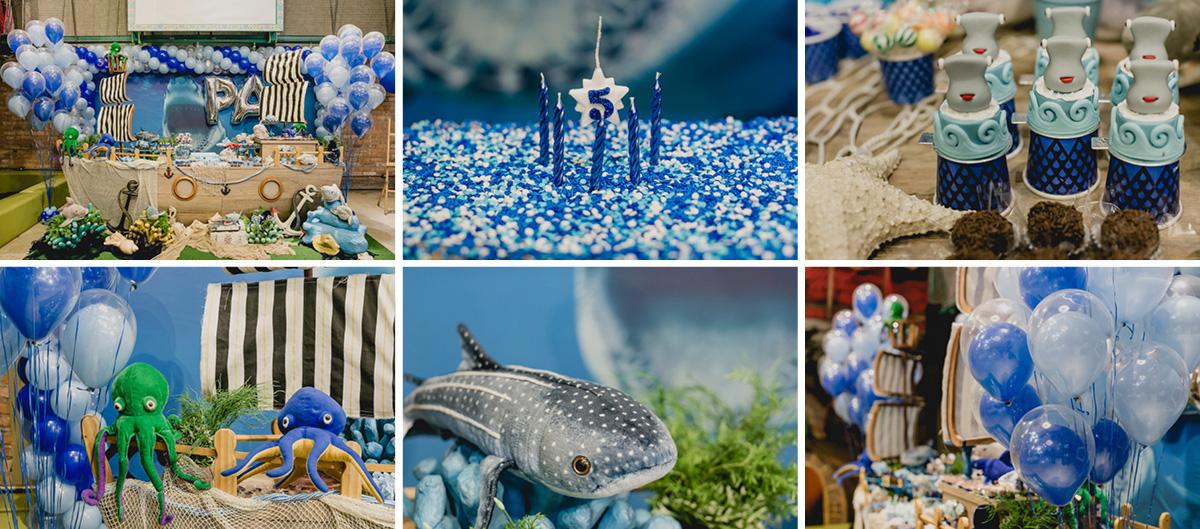 detalhes da mesa do bolo com o tema tubaroes feita pela chiara marcelli