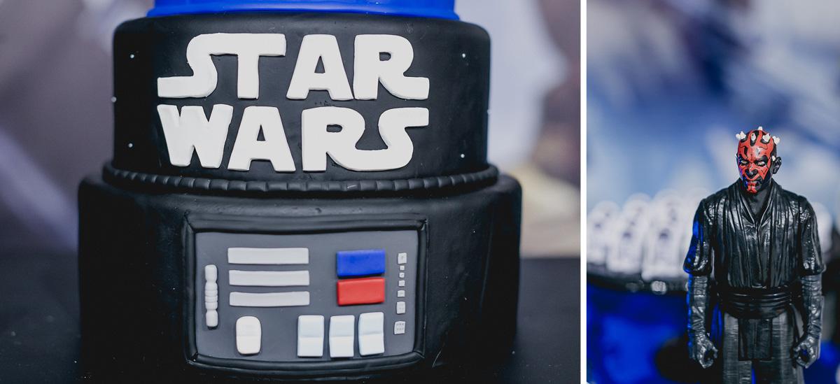 detalhes da mesa decorada com o tema star wars e feita pela cleuza ferreira decorações com bolo do gustavo henrik cake designer
