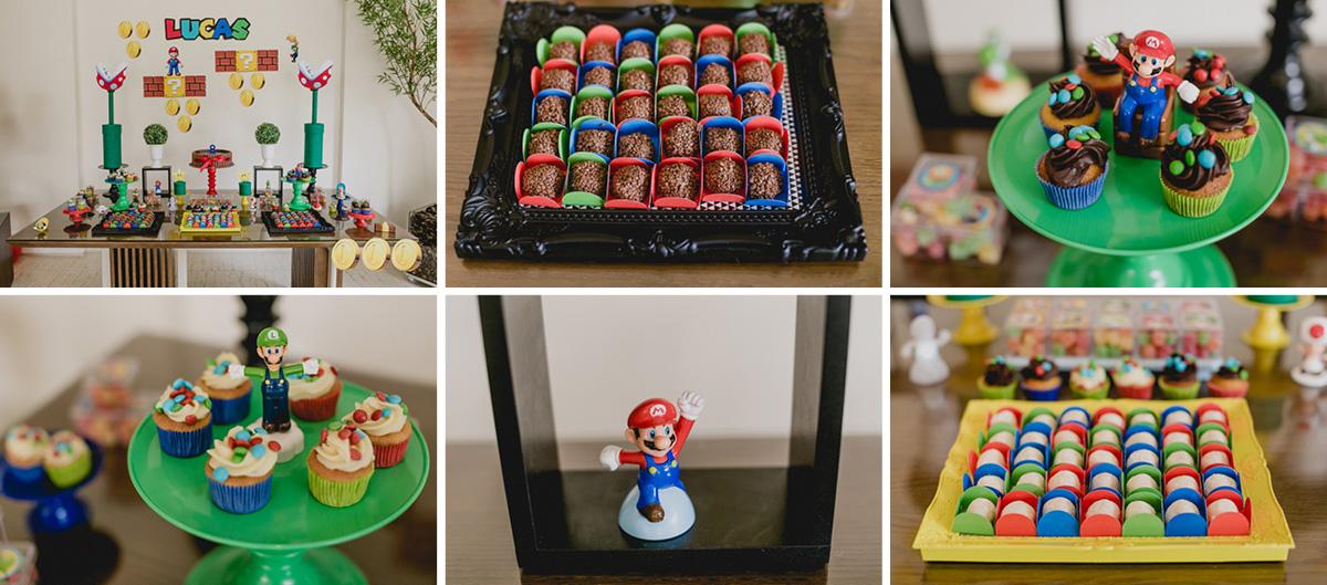 detalhes da mesa do bolo com o tema do mario bross