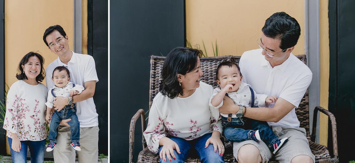foto em familia na fachada do buffet miniland tatuape