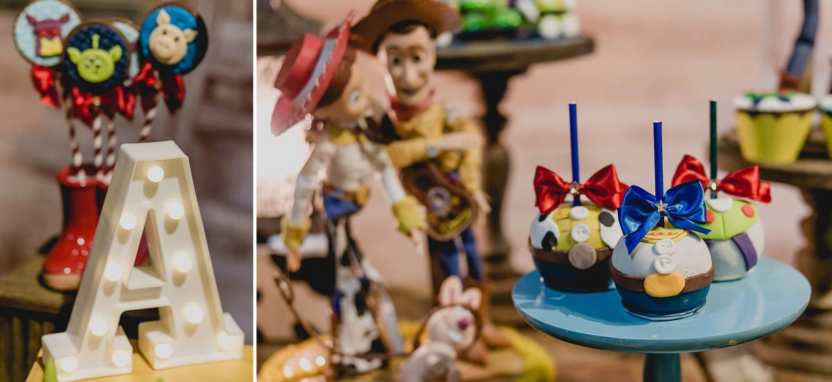 detalhes da mesa do bolo com o tema toy story feita pela meire cespede decoraçoes