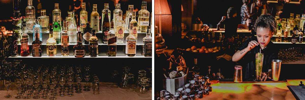 Detalhes do Bar e Bargirl fazendo um drink