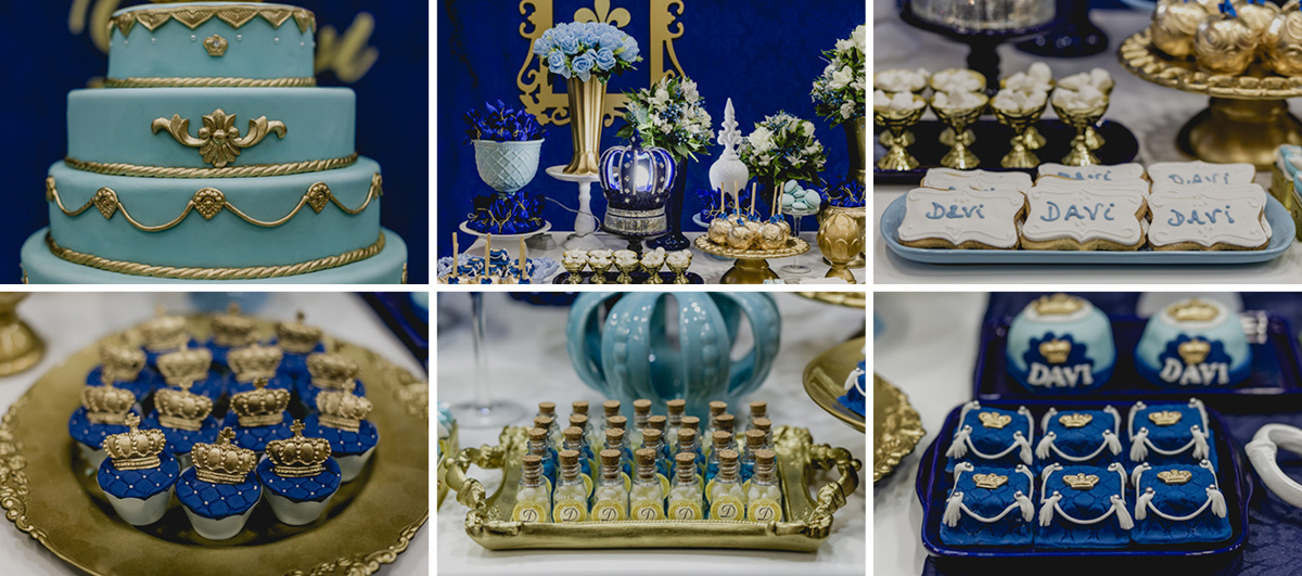 detalhes da mesa do bolo do principe Davi