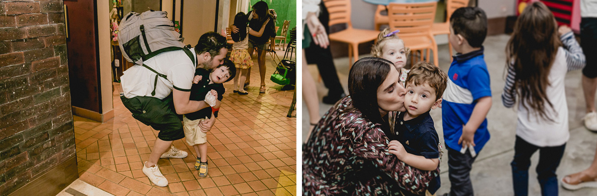 abraçando e beijando os convidados